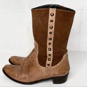 Eddie Bauer Leather Suede Mid Calf Studded Boots
